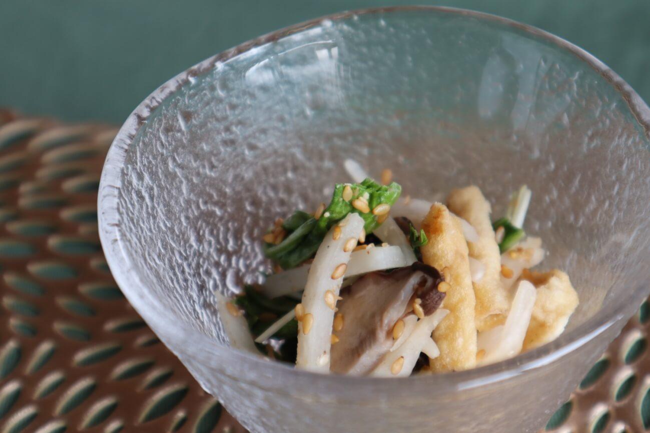 寿司揚げと香味野菜の胡麻和え